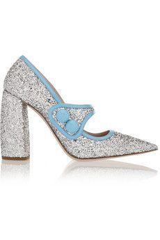 Miu Miu Glittered patent-leather Mary Jane pumps | NET-A-PORTER