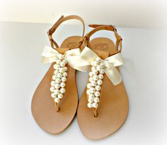 Wedding sandals Greek leather sandals decorated by dadahandmade