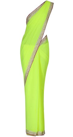 Neon green georgette sari with gota border by SONAL KALRA AHUJA. Shop at https://www.perniaspopupshop.com/whats-new/sonal-kalra-ahuja-2