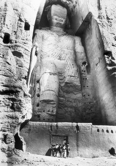 French archeologist Joseph Hackin exploring The Buddhas of Bamiyan, Afghanistan, 1931.
