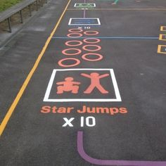 Playground Markings - Circuits Tracks and Trails - Fitness Trail Exercises On Site Playground Painting, Playground Games, Outdoor Playground, Recess Games, Pe Games, Pe Activities, Movement Activities, Outdoor Classroom, Outdoor School