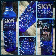 Skyy jeweled sparkly vodka bottle I decorated for my friend's 21st birthday!      Sparkle rhinestones gems cute blue diy