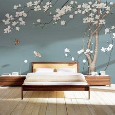 One Large Magnolia Tree Flowers Tree Wallpaper Wall Mural, White Flowers with Birds Wall Murals, Birds and Flowers Floral Tree Wallpaper tree wallpaper - Wallpaper Ideas Bedroom Wall, Bedroom Decor, Bedroom Sets, White Flowering Trees, Wallpaper Wall, Magnolia Trees, Cleaning Walls, White Flowers, Big Flowers
