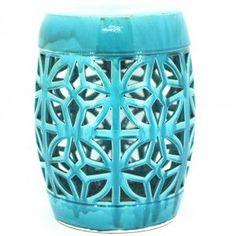 Turquoise Cabana Ceramic Stool