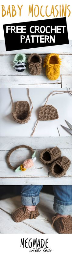 Crochet Baby Moccasins Pattern — Megmade with Lo. Crochet Baby Moccasins Pattern — Megmade with Lo. Crochet Diy, Crochet Baby Shoes, Crochet Baby Clothes, Crochet Slippers, Love Crochet, Crochet For Kids, Crochet Crafts, Crochet Projects, Booties Crochet
