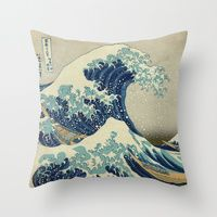 Throw Pillows featuring The Great Wave off Kanagawa by Palazzo Art Gallery