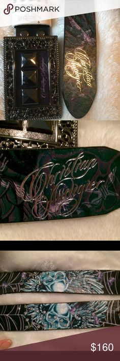 Men's Belt M Christian Audigier NWOT AAAA Men's leather , studded and bad to the bone high end belt. Christian Audigier From Los Angeles where it's made. This belt will last forever if it's your mans style. My husband loves his !!!🎁🎁🎁🎁💋💋❤️✅ Christian Audigier Accessories Belts