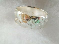 HAWAIIAN PLUMERIA FLOWER RING 8MM BAND RING 925 STERLING SILVER Size 7 #Unbranded #Band Rings N Things, Wide Band Rings, Hawaiian, Sterling Silver, Flower, Wide Rings, Rings And Things, Flowers