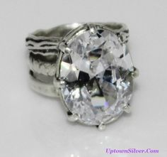 Didae Shablool Israel Artisan Huge Cubic Zirconia Sterling Silver Wide 3 Band Statement Cocktail Ring Size 8 1/2