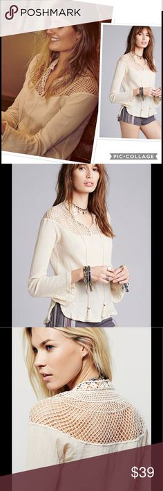 NWT Free People On The Island Top Blouse Tunic Size: S Size Origin: US Manufacturer Color: Tea Retail: $98.00 Condition: New with tags Style Type: Blouse Collection: Free People Sleeve Length: Bell Sleeves Bust Across: 17 1/2 Inches Material: 100% Cotton Fabric Type: Crinkled Specialty: Embroidered Free People Tops Tunics