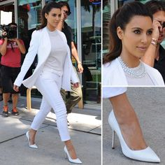 """By the way of this post we will bet talking about the """"Best Kim Kardashian Glamorous 2015 Looks"""".We all are aware from the name of Kim Kardashian as she is a. All White Outfit, White Outfits, Work Outfits, Cute Fashion, Fashion Outfits, Style Fashion, Petite Fashion, Fashion Killa, Fashion Wear"""