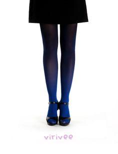 Virirvee blue-black ombre tights                 #ombre #virivee #ombre_tights #tights #colors #leg #fashion #black #blue #stockings #leggings #woman #gradient