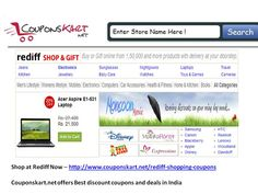Get rediff shopping coupons at http://www.couponskart.net/rediff-shopping-coupons Shop online for bags , books , purse , dresses in India at rediff.com