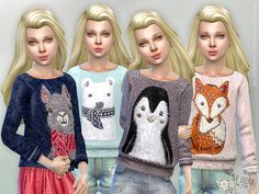 Printed Sweatshirt for Girls - The Sims 4 Catalog Sims 4 Cas, Sims Cc, Sims 4 Cc Kids Clothing, Children Clothing, Sims 4 Children, Sims 4 Dresses, Sims4 Clothes, Sims 4 Toddler, Sims 4 Cc Finds