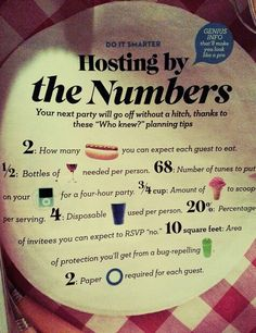 Party planning 101 - A good guide to planning by the numbers.