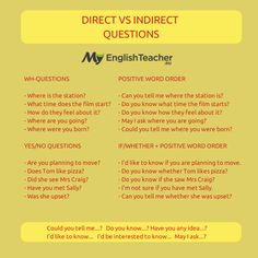 Direct vs Indirect Questions