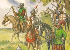 """EL RENACIMIENTO - LA CABALLERIA, por Liliane y Fred FUNKEN   CABALLERIA LIGERA.-  Nº 1.-  Ballestero a caballo, 1540, lleva un casco borgoñon con triple cresta.  Nº 2 .- """"Argoulet"""", 1560 ,inspirado en los escopeteros españoles por la adopción en 1590 de un arma más corta, una escopeta de un metro de larga , """"l'argoulet """", tomo su nombre de la Argólida  una regiónde Grecia, y la carabina de la provincia italiana de Calabria.   Nº 3 ,. Arcabucero a caballo,1590. .- Nº 4 .- Pistolero, 1560"""