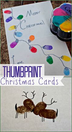 Thumbprint Christmas Cards - Fun and Easy craft to make personalized cards for the Holidays