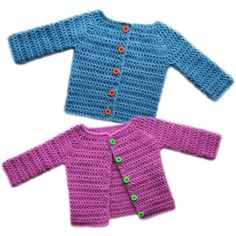 crochet classic baby cardigan sweater s make changes to make it more or a double breasted coat? Multi colored buttons?