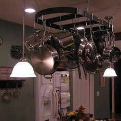 Hang a Pot Rack and Lights over a Kitchen Island