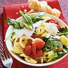 Orecchiette with Roasted Peppers, Arugula, and Tomatoes Recipe ...