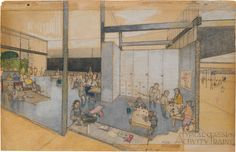 Richard Neutra, Experiemental Unit of the Corona Avenue School Bell, California, interior perspective, 1935 Education Architecture, School Architecture, Modern Architecture, Richard Neutra, Otto Wagner, School Building, Contemporary Photographers, Moma, Primary School