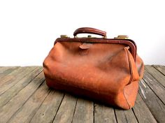 Antique Traveling Doctor Leather Bag by EastonandBelt on Etsy