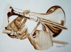 Le trombone - Swaze, peintre pastelliste aquarelle