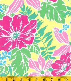 Summerville Sateen Fabric-Tropical Floral Yellow