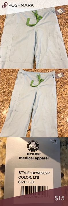 Baby blue CROC's brand scrubs NWT- 1/2 elastic waist 1/2 drawstring makes for a perfect fit. Too long for me as I am 5 feet tall. plenty of pockets to stash extra gloves, pens, and tools. Size Women's large CROCS Pants
