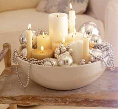 Simple decor = A large ceramic bowl, candles, silver holiday ornament balls, silver or white pearls, and candles. Easy!