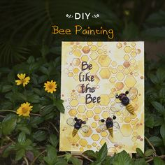 'Be like the Bee'! Does a hard working bee inspire you? Make a cute li'l mixed media canvas to contribute and appreciate the work of a honeybee. Working Bee, Bee Painting, Honeycombs, Line Texture, Bumble Bees, Color Kit, Hobby Ideas, Fabric Glue, Stencil Designs