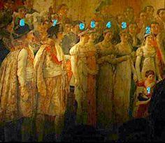 La familia de Napoleon ,en la pintura de Luis David  - 1 Napoleon Luis, hijo de Luis, -2 Julie esposa de José Bonaparte -  3  Hortense Beauhnais esposa de Luis,- 4 Elisa Bacciochi -5  Paulina Bonaparte ,- 6  Carolina Murat -7 y 8 Luis y José Bonaparte