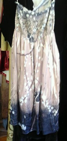 Strapless Dress Tube Sundress  butterflys Boho sequined lined 1 sz most #JGee #Casual