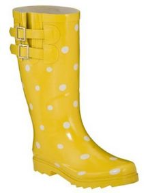 Polka Dot Yellow Rain Boots! LOVE