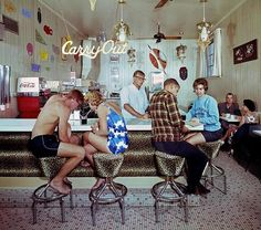 Teens couples in the coffee shop. C.1960s. Ocean City, MD ©...