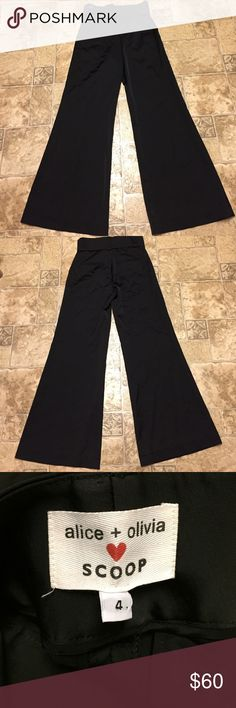 """Alice + Olivia scoop wide leg pants with belt Stunning wide leg, high waisted pants with patent leather belt. Side pockets in front. Slit pockets in back. 31"""" inseam. Excellent condition Alice + Olivia Pants Wide Leg"""