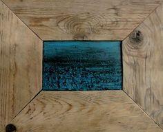 """Fabio Spagnesi """"Mare"""" (2014). Resina,cemento,smalto su tavola, cornice in legno vecchio."""