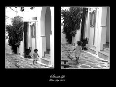 playing on the streets of paros