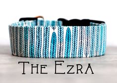 "Modern Bohemian Inspired White Navy & Turquoise Feather Dog Collar ""The Ezra"""
