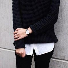 Black sweater, white shirt