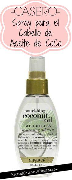 Spray Casero aceite de coco y agua de rosas