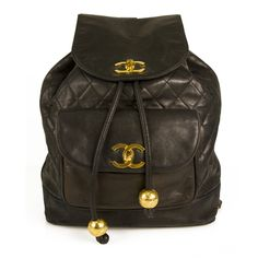 Chanel Vintage Black Diamond Quilted Large Leather Backpack with gold  hardware 773797e973