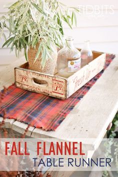 Easy and gorgeous DIY Fall Flannel Table Runner~ The perfect addition to your Autumn decor by Ella Claire.