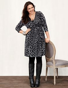 Animal wrap dress with zippers | Lane Bryant