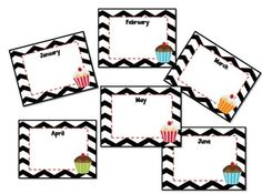 Here's a cheerful chevron and cupcake birthday chart for your classroom wall. Laminate the pages and use a whiteboard marker to fill in birthdays. You can use it year after year :) $