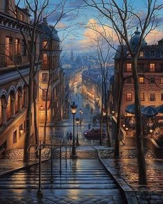 Montmartre dream ~ Paris, France Artist: Awesome Founders: - Best Places to Visit X Beautiful World, Beautiful Places, Wonderful Places, Rain Images Beautiful, Beautiful Scenery Drawing, Wonderful Picture, Tour Eiffel, Belle Photo, Places To Visit