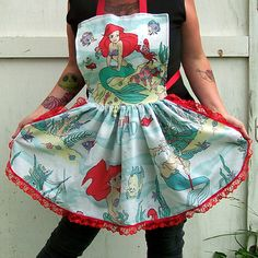 Ariel The Little Mermaid Retro Ruffle Apron. OMG I need this!!! I use to have this print as my comforter when I was little!!