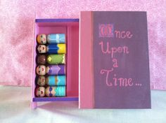 Made to Order:  6 Princess Peg People with Wooden Book Travel Case
