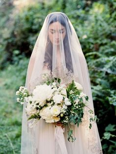 Ethereal Veiled Bride in the Redwoods | Jacque Lynn Photography | http://heyweddinglady.com/rustic-elegant-wine-country-wedding-inspiration-to-reality/